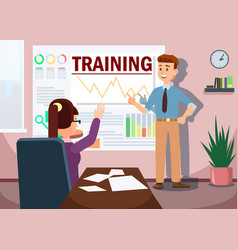 Training with man presenting graphs analysis vector