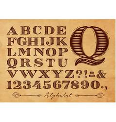 vintage alphabet kraft vector image