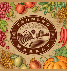 Vintage farmers market label vector