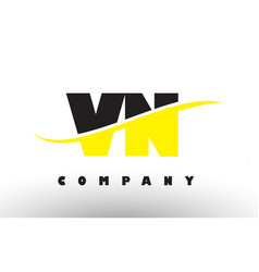 vn v n black and yellow letter logo with swoosh vector image