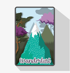 Wanderlust ice mountains with trees landscape vector