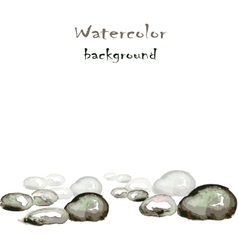 Watercolor background with stones on white vector image