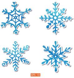 Watercolor snowflakes stickers set vector image