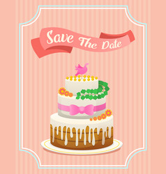 wedding cake card valentines day newlyweds vector image