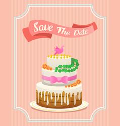 Wedding cake card valentines day newlyweds vector