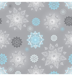 Winter silvery seamless pattern with snowflakes vector image