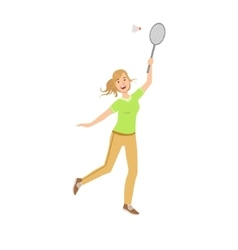 Woman Playing Badminton With Shuttlecock vector