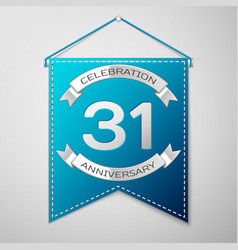 blue pennant with inscription thirty one years vector image