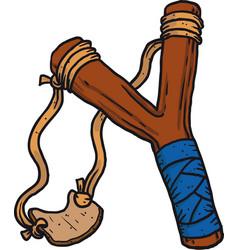 child wooden slingshot vector image