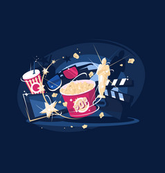 cinema accessories popcorn and 3d glasses vector image vector image