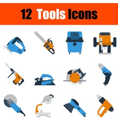 Flat design tools icon set vector image