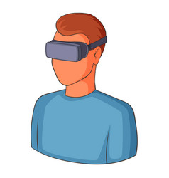 man with virtual reality goggles icon vector image