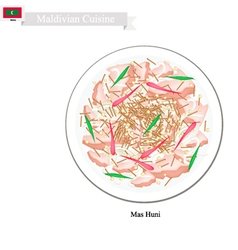 Mas Huni or Maldivian Spicy Shredded Coconut vector image vector image