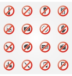 Prohibited or restriction icons set vector image