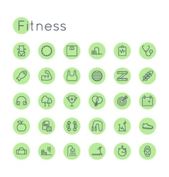 Round Fitness Icons vector image