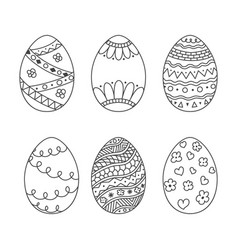 Set of easter eggs doodle style hand drawn egg vector