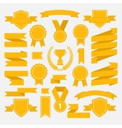Yellow ribbons set I vector image vector image