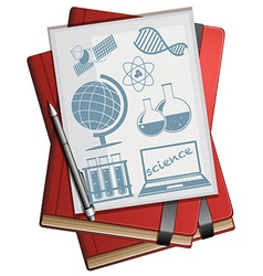 Books and paper with science symbols vector image vector image