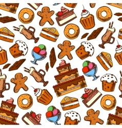 Cakes coffee and ice cream seamless pattern vector image vector image