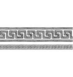 greek meander border ornaments vector image