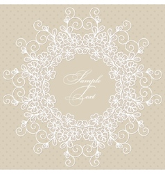 Round lace card vector image vector image