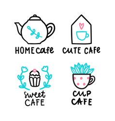 cute cafe logotype vector image vector image