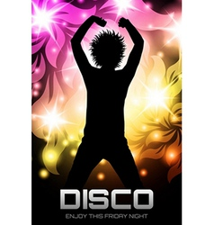 Disco party poster floral vector image vector image