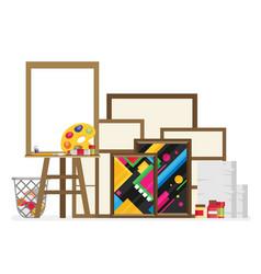 easel flat in studio interior vector image vector image