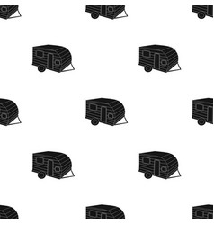 green caravan icon in black style isolated on vector image