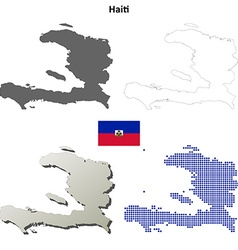 Haiti outline map set vector image
