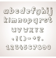 Hand drawn font retro alphabet lowercase and vector image vector image