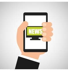 hand hold cellphone online news design vector image