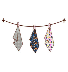 hanging towels on rope vector image