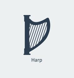harp icon silhouette icon vector image vector image