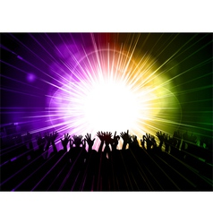 party crowd on purple and green background vector image