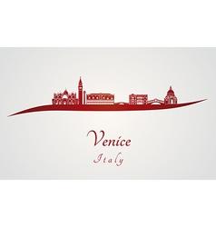 Venice skyline in red vector image