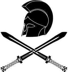 fantasy barbarian helmet with swords vector image vector image