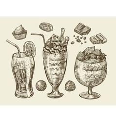 Food dessert drinks Hand drawn soda lemonade vector image
