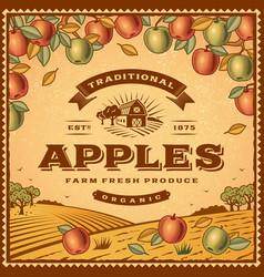 Vintage apples label vector image vector image