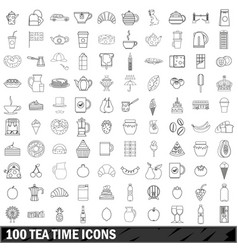 100 tea time icons set outline style vector image