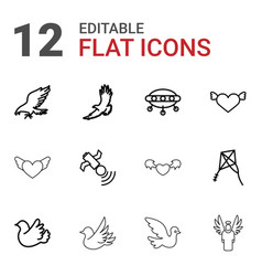 12 flying icons vector