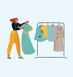 A girl chooses a dress vector