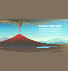 active volcano eruption with leaky magma vector image