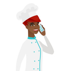 African-american chef talking on a mobile phone vector