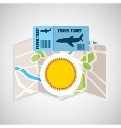 Airline ticket map travel sun summer vector