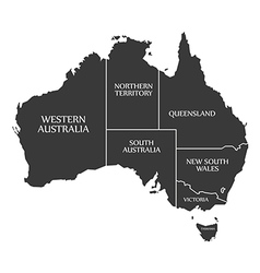 Australia map with labels black vector