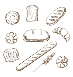 Bakery and pastry object sketches vector