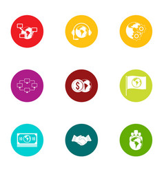 Bank assistance icons set flat style vector