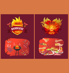 Bbq party emblems in flame and food on grill set vector
