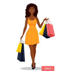 beautiful african american woman with bags vector image